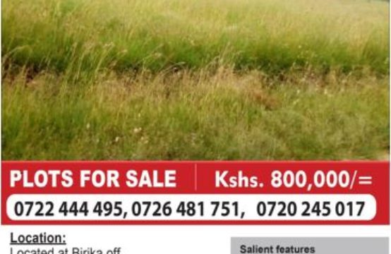 Plots for sale Birika area off Pipeline road Kshs.800,000 for an eighth